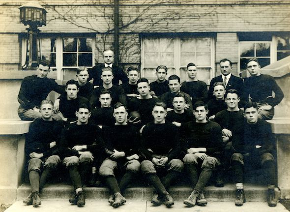 Hemingway and his high school football team. The budding author is second from the right, on the bottom row.