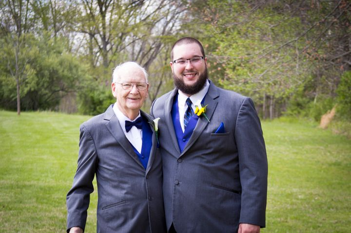 Schafer poses with his grandfather -- and best man! -- on the wedding day.