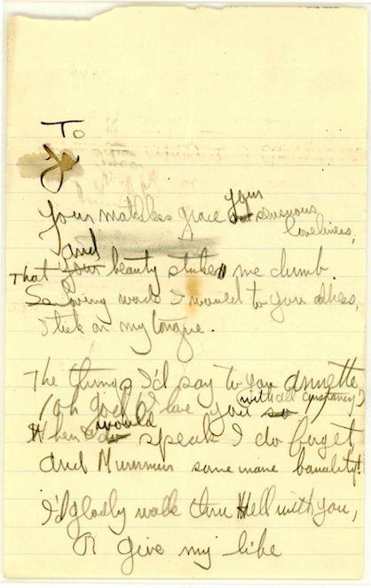 Hemingway's poem to a high school underclassman, Annette DeVoe.