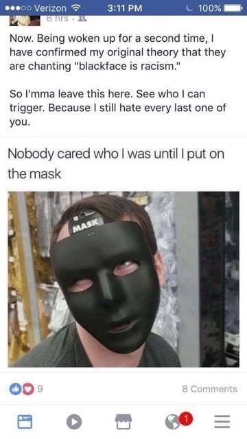 A UNH student shares a blackface image after being woken up by protesters on campus.