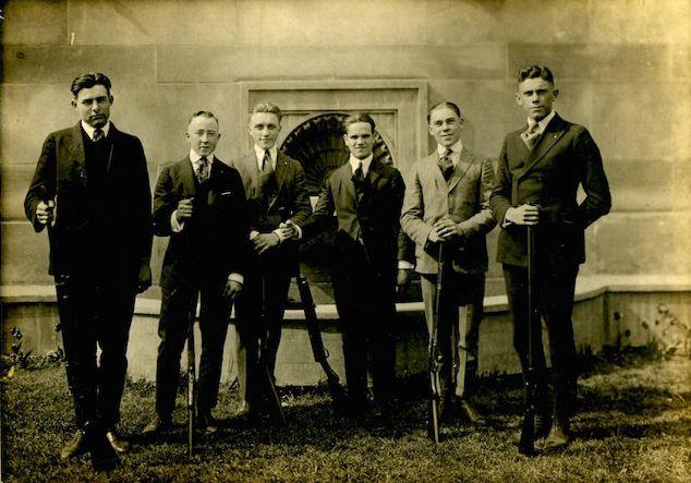 "The teenage Hemingway, left, and his ""Shotgun Club."""