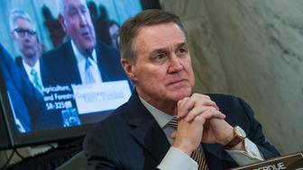 UNITED STATES - MARCH 23: Sen. David Perdue, R-Ga., listens to cousin, Sonny Perdue, nominee for Secretary of Agriculture, testify during his Senate Agriculture Committee confirmation hearing in Russell Building, March 23, 2017. (Photo By Tom Williams/CQ Roll Call)