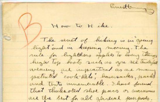 """Hemingway's """"How to Hike"""" homework."""