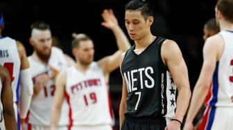 AUBURN HILLS, MI - MARCH 30: Jeremy Lin #7 of the Brooklyn Nets reacts to a one point loss to the Detroit Pistons at the Palace of Auburn Hills on March 30, 2017 in Auburn Hills, Michigan. Detroit won the game 90-89. NOTE TO USER: User expressly acknowledges and agrees that, by downloading and or using this photograph, User is consenting to the terms and conditions of the Getty Images License Agreement.  (Photo by Gregory Shamus/Getty Images)