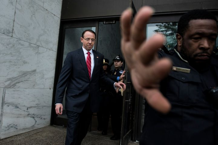 Deputy Attorney General Rod Rosenstein leaves after a closed meeting with Senate Intelligence Committee senior members Richar