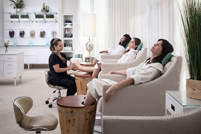 Steam pedicure at Burke Williams —the steamy pedi feels so soothing, it's easy to fall asleep!