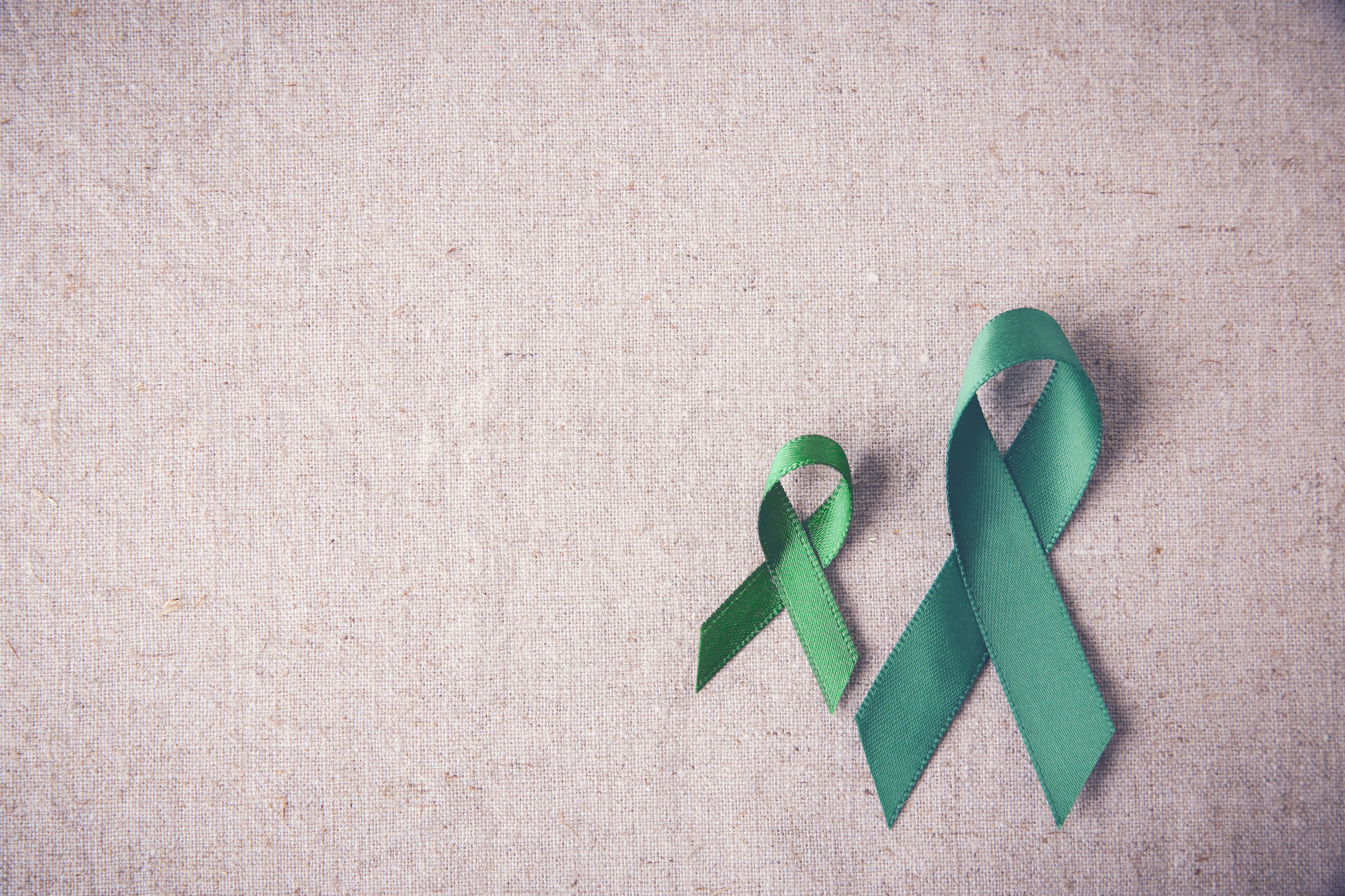 Green Ribbons copy space toning background, cancer awareness, Liver, kidney cancer awareness