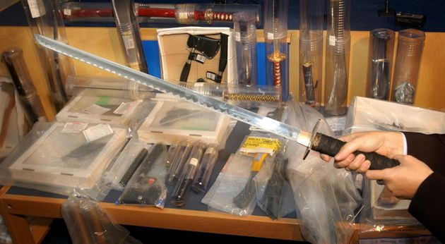 Thousands of weapons have been seized from schools across the country. File