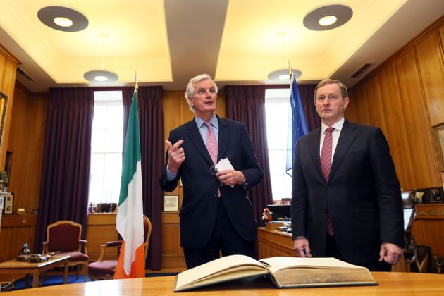 EU chief negotiator on Brexit Michel Barnier meeting Enda Kenny in the Taoiseach's office at Government...