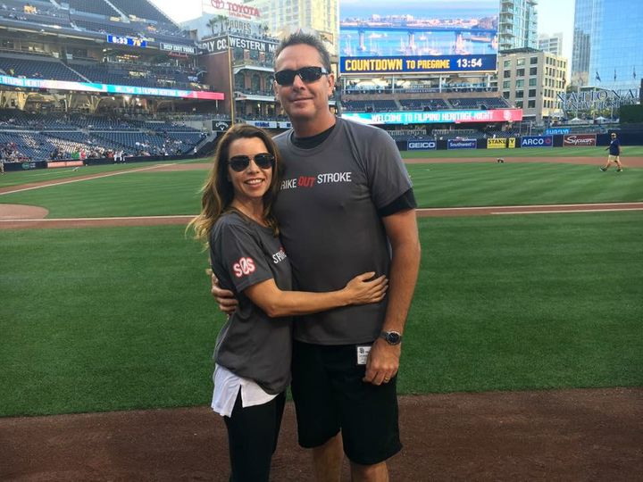 Lori and Darren took part in last year's Strike Out Stroke night at a San Diego Padres game.