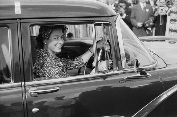 Attendinga polo match inWindsor, U.K. in August 1958.