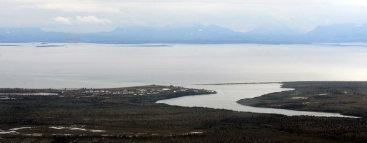 Aerial view of the village of Newhalen, August 27, 2013. The Bristol Bay watershed supports all five species of Pacific salmo