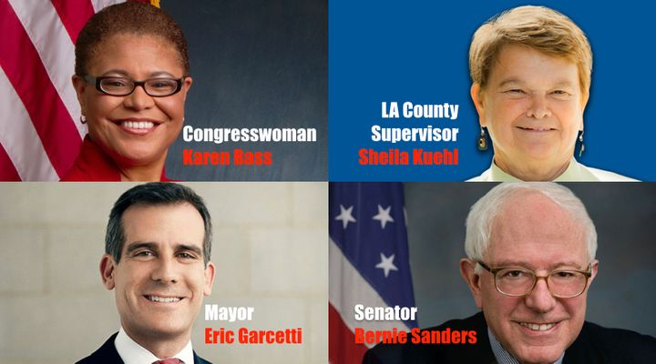 Congresswoman Karen Bass, LA County Supervisor Sheila Kuehl, LA Mayor Eric Garcetti, and Senator Bernie Sanders are among the