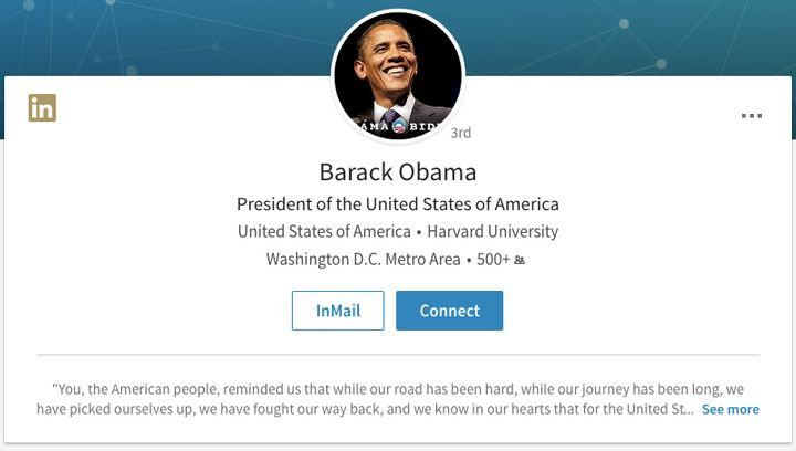 Barack Obama's LinkedIn Sadly No Longer Claims He's Our Current President