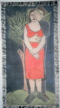 "<em>In the Garden</em>, woodblock & softlean printed, dyed silk, 70 x 36"""