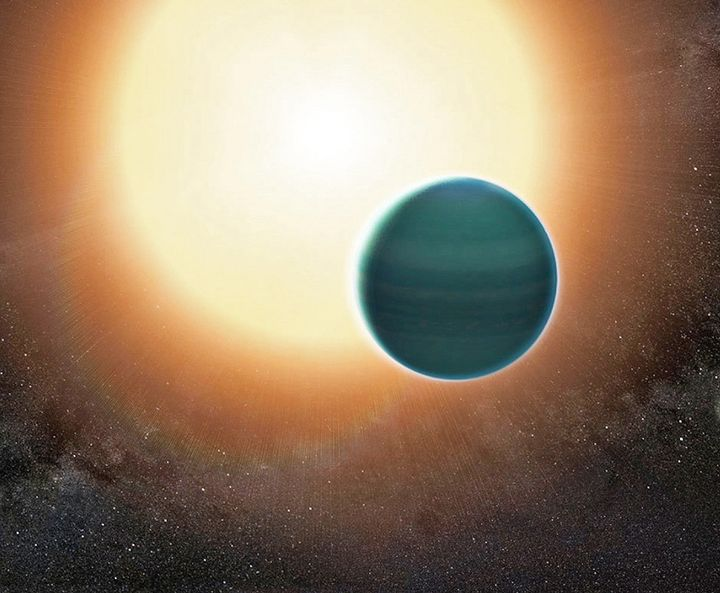 "An illustration of the distant ""warm Neptune"" exoplanet, dubbed HAT-P-26b. The atmosphere appears to be composed"