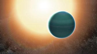 An illustration of the distant warm Neptune exoplanet dubbed HAT-P-26b The atmosphere appears to be composed of hydrogen and helium along with water vapor and exotic clouds