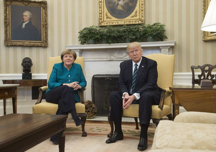 German Chancellor Angela Merkel and U.S. President Donald Trump met in the Oval Office of the White House on March 17, 2