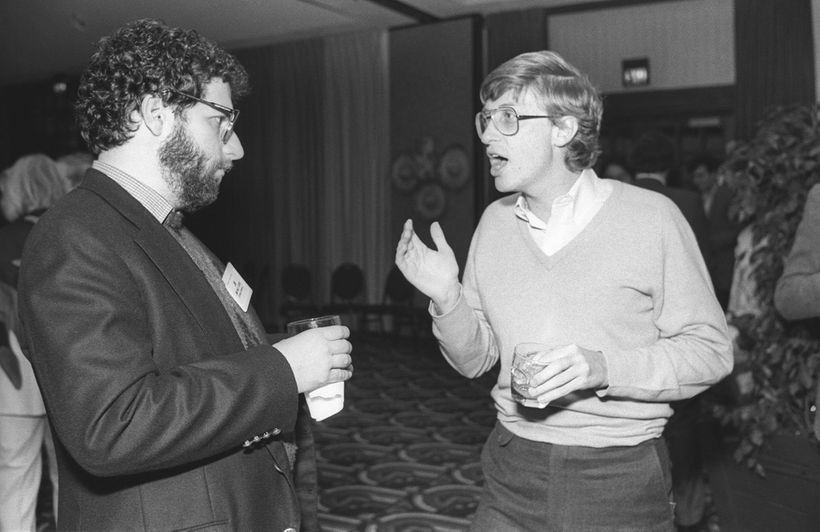 Jonathan Lazarus, Ziff Davis Publishing/Kiha Software; Bill Gates, Microsoft; PC Forum, 1985