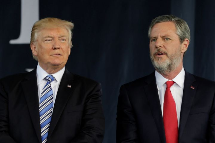 President Donald Trump with Liberty University President Jerry Falwell Jr., who praised the former reality TV personality for