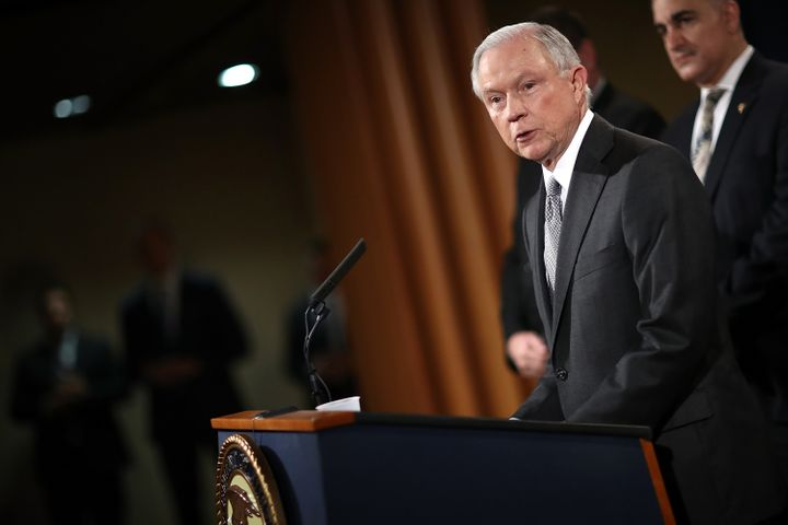 U.S. Attorney General Jeff Sessions speaks during an event at the Justice Department May 12, 2017, in Washington, DC. Session