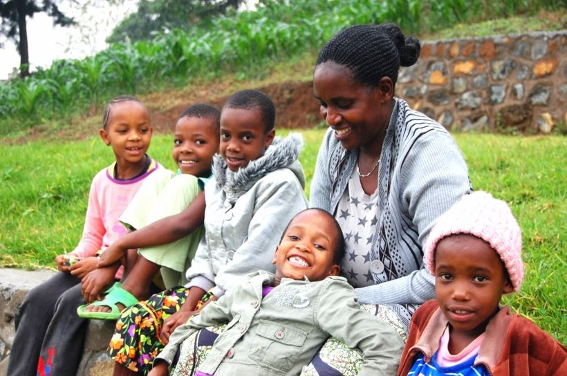 From left: Agape, Pendo, Dainess, Miriam, Mama Ino, Loveness