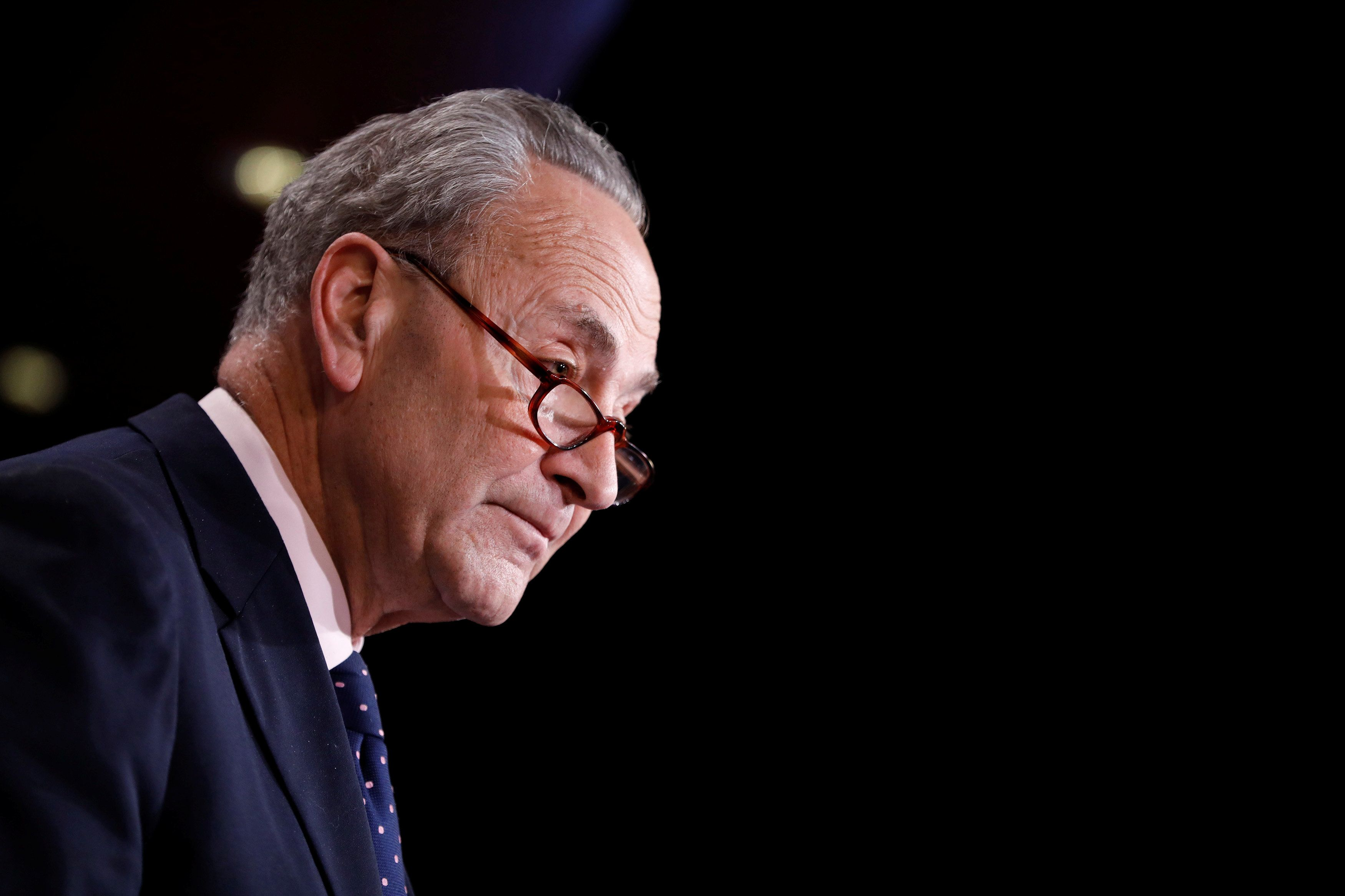 U.S. Senate Minority Leader Chuck Schumer speaks with reporters about President Donald Trump's firing of FBI Director James Comey on Capitol Hill in Washington, D.C., U.S. May 9, 2017.  REUTERS/Aaron P. Bernstein