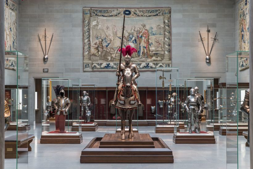 Installation  photo of the Cleveland Museum of Art's Armor Court. Photo by David  Brichford, courtesy of the Cleveland Museum