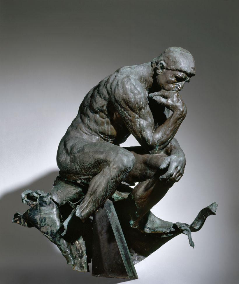 The Thinker Caption: bronze, Overall — h:182.90 w:98.40 d:142.20 cm  (h:72 w:38 11/16 d:55 15/16 inches) Wt: 1,650