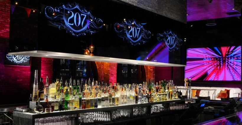 207 bar offers 35 tequilas, 30 premium scotches, cognacs, and vodkas. Beers on tap and diverse wine list available.