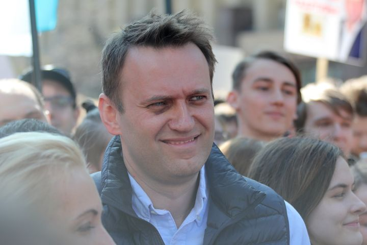 Opposition activist Alexei Navalny joins the protest in Moscow.