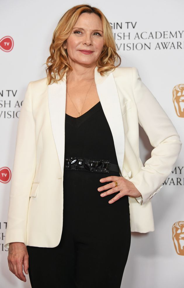 Kim Cattrall poses in the Winner's room at the Virgin TV BAFTA Television Awards at The Royal Festival...