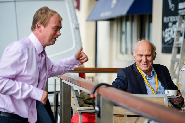 Lib Dem leader Tim Farron (L) greets former business secretaryand 2017 Lib Dem Twickenham candidate...