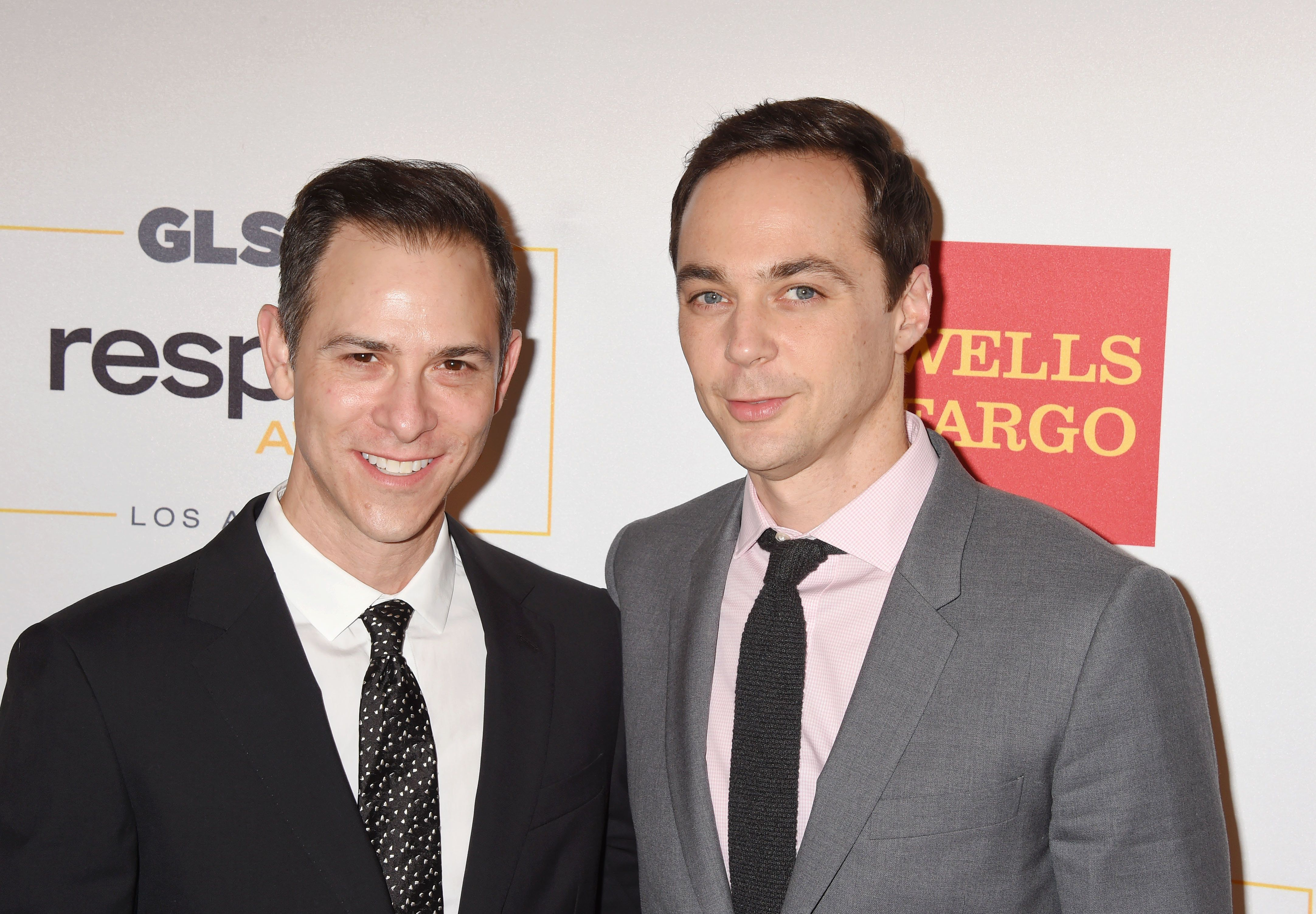 Todd Spiewak and Jim Parsons attend the 2016 GLSEN Respect Awards at the Beverly Wilshire Hotel on Oct....