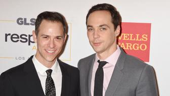 BEVERLY HILLS, CA - OCTOBER 21: (L-R) Honorary Co-Chairs Todd Spiewak; Jim Parsons attends the 2016 GLSEN Respect Awards at the Beverly Wilshire Hotel on October 21, 2016 in Beverly Hills, California. (Photo by Jeffrey Mayer/WireImage)