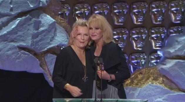 Jennifer Saunders presents Joanna Lumley with her Bafta TV