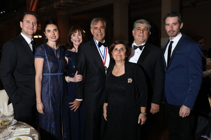 2017 Honoree Harris Pastides, President of University of South Carolina (shown with medal) and his extended family on Ellis I