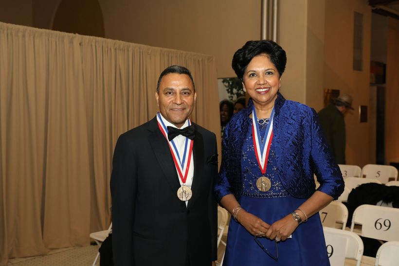 2017 honorees Dinesh Paliwal, Chairman and CEO of Harman International and Indra Nooyi Chairman and CEO of PepsiCo.