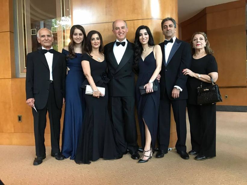Dr. Abbas Ardehali (center) and his family attending the Ellis Island Medals of Honor last night.