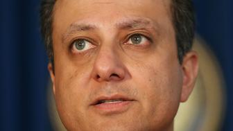 NEW YORK, NY - NOVEMBER 17:  Preet Bharara, U.S. attorney for the Southern District of New York, speaks at a news conference where it was announced that two former pharmaceutical executives are facing federal criminal charges over a fraud and kickback scheme on November 17, 2016 in New York City. Former Philidor Rx Services CEO Andrew Davenport and former Valeant executive Gary Tanner were charged Thursday with wire fraud, money laundering and other charges in which prosecutors say they made millions of dollars illegally.  (Photo by Spencer Platt/Getty Images)
