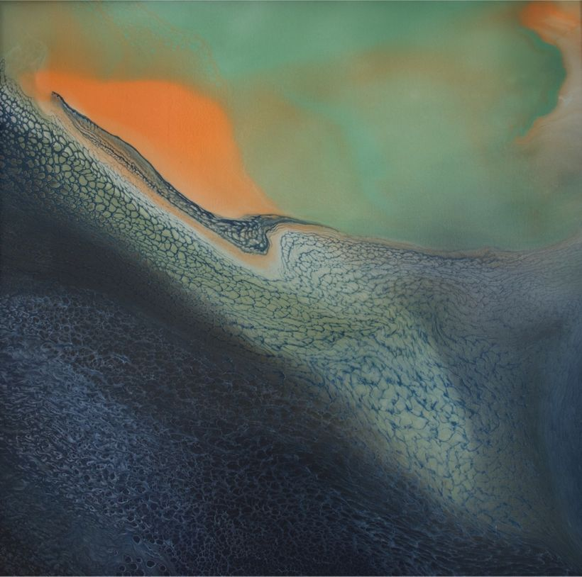 Jennifer Wolf. Landscape #17, 2013. Handmade Mineral Pigment and Acrylic Medium on Canvas over Wood Panel. 48 x 48 inches