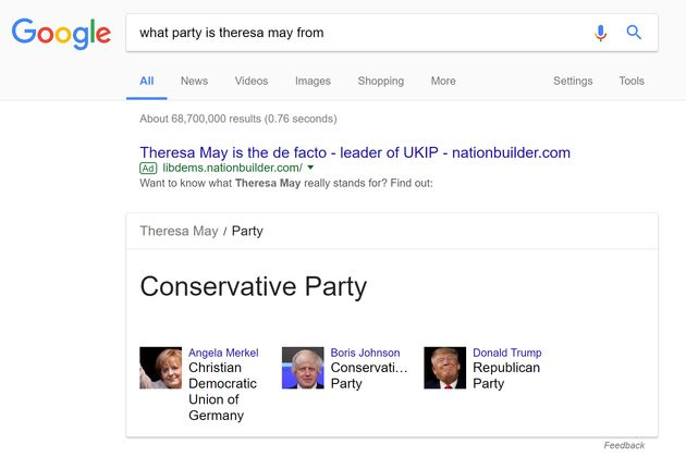 Lib Dems Use Google Adverts To Claim Theresa May Is 'De Facto Ukip