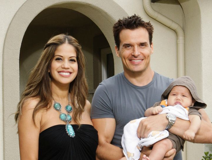 "Antonio Sabàto Jr. and wife Cheryl Moana Marie on ""Celebrity Wife Swap"" in 2012."