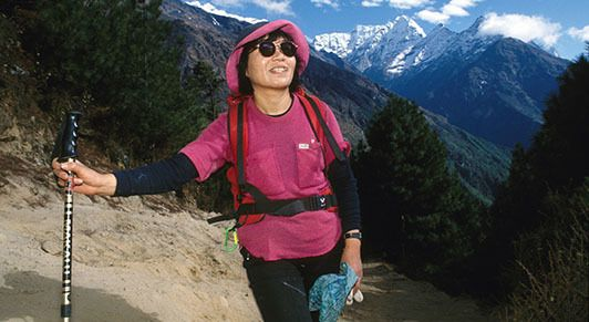"Junko Tabei, the first woman to climb Mount Everest and the ""Seven Summits""—the highest mountains across seven continents (ph"