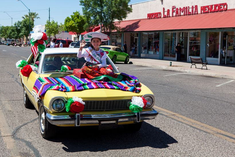 2016-2017 Little China Poblana, Camilia Ovando, rides in the recent Douglas Days parade.