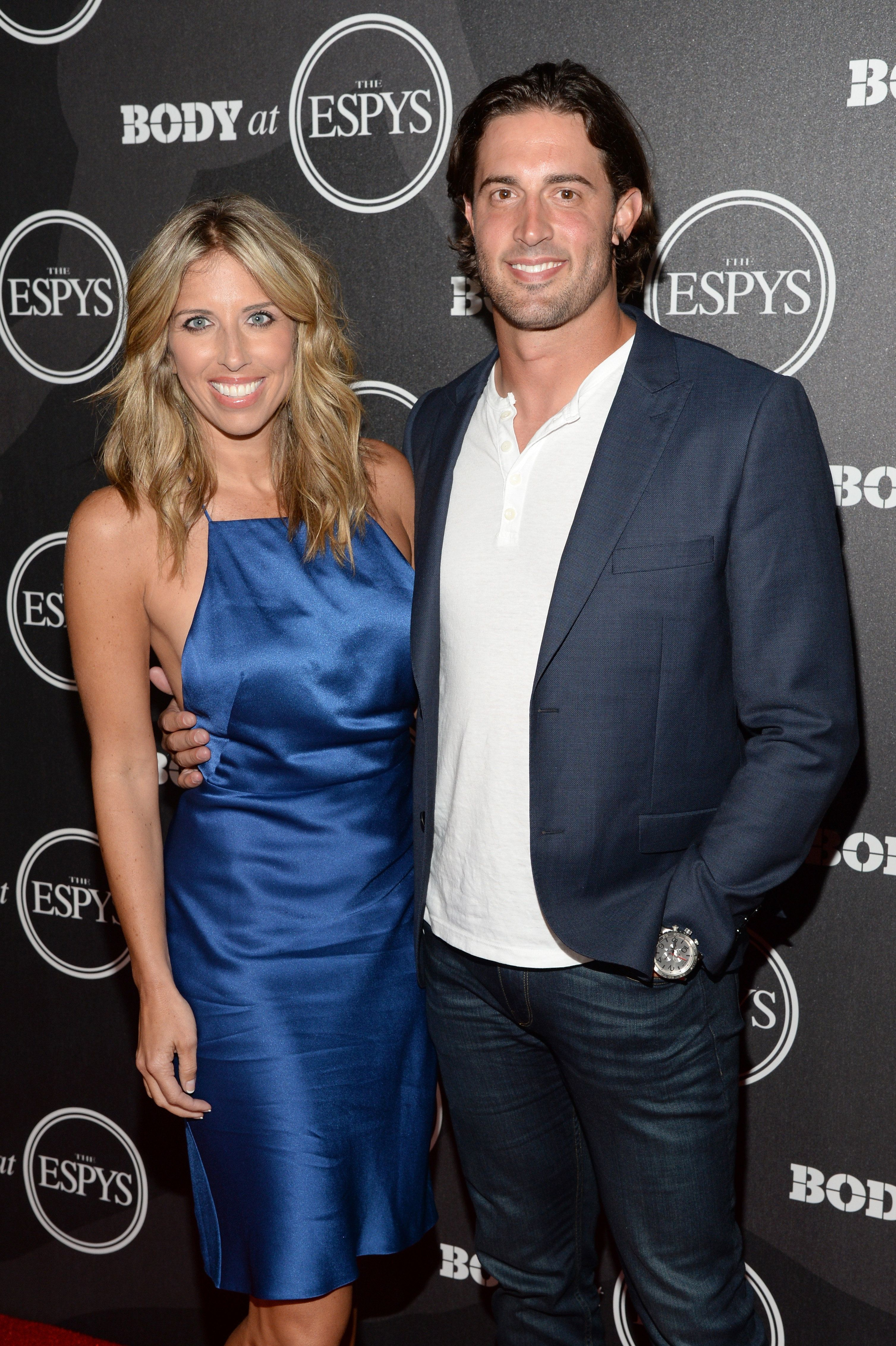 LOS ANGELES, CA - JULY 12:  Sportscaster Sara Walsh (L) and MLB player Matt Buschmann at the BODY at ESPYS Event on July 12th at Avalon Hollywood.  (Photo by Michael Kovac/Getty Images for ESPN)