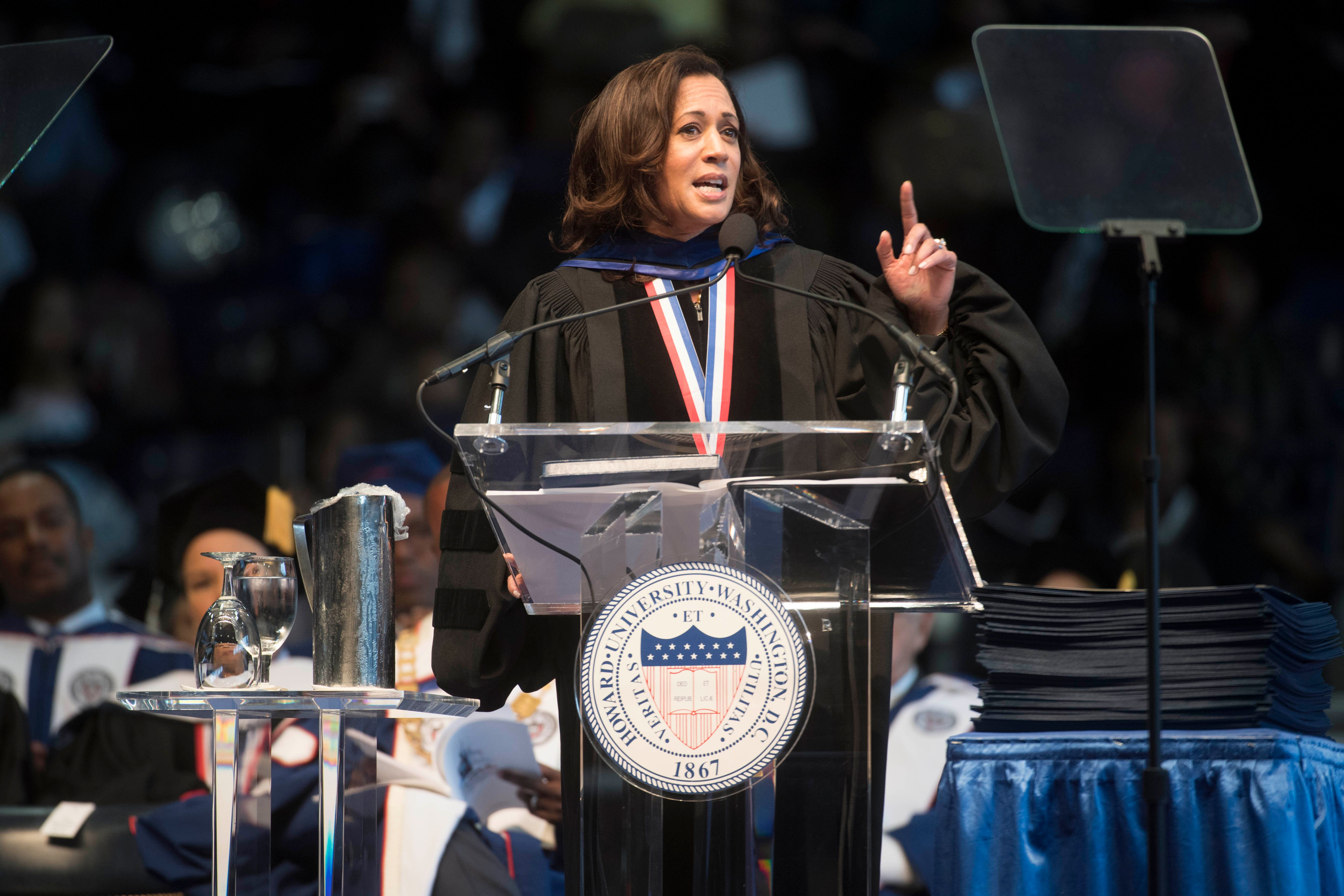 Sen. Kamala D. Harris (D-Ca.) gave the convocation oration for the 2017 Howard University Commencement Ceremony in Washington