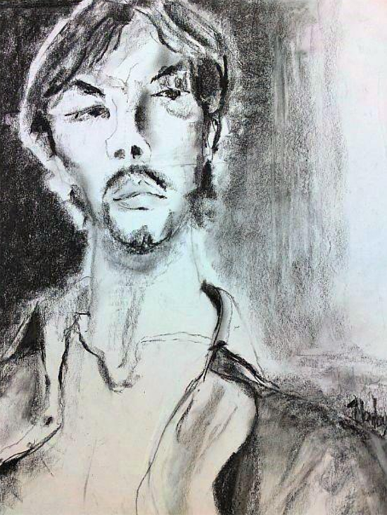 """Man with Mustache: Charcoal, 2015,  26.5"""" x 32"""" with frame"""