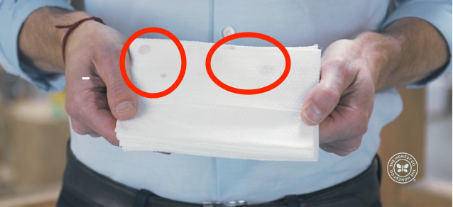 The mold is likely harmless, but it's visible on certain lots of wipes.