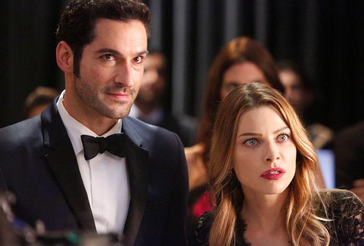 """Tom Ellis and Lauren German in """"Lucifer."""""""